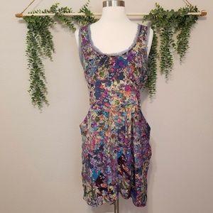 Anthropologie Silk Floral Dress - Size 2